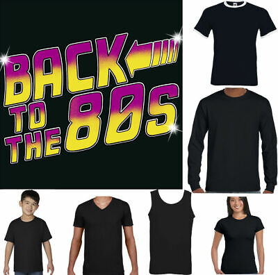 BACK TO THE 80'S Funny T-Shirt Fancy Dress Costume Outfit Vinyl Top 1980's Top