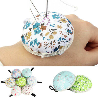 Ball-Shaped Home Supplies Wrist Strap Floral Needle Holder Sewing Pin Cushion