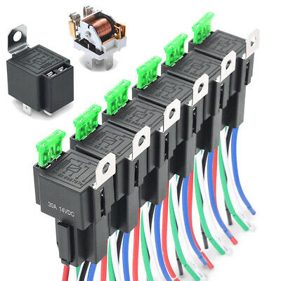 30Amp Blade Fuse Relay Switch Harness Set 12V 5-Pin SPST 14AWG Automotive Relays