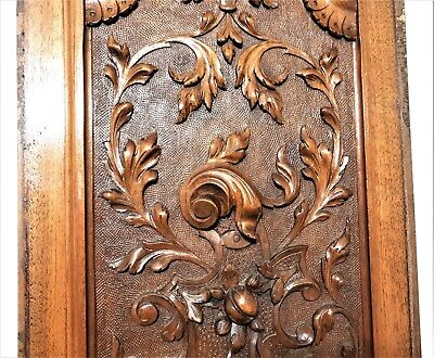 Gothic scroll leaves panel Antique french highly carved architectural salvage