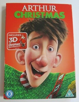 Arthur Christmas Uk Dvd Brand New Factory Sealed + Slip Cover + 3D Decoration