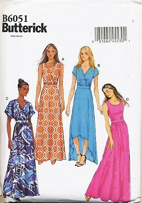 Butterick Sewing Pattern 6051 Misses 8-16 Maxi & High-Low Dress W/ Wrap Bodice