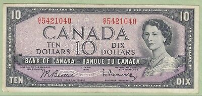 1954 Bank of Canada Ten Dollar Note - Beattie/Rasminsky - G/V5421040 - VF