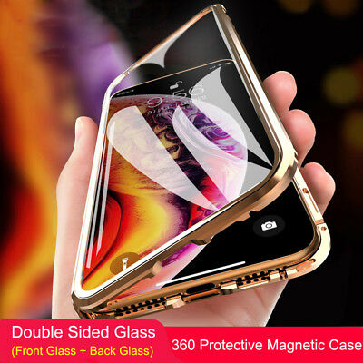 360 Double Sided Glass Magnetic Adsorption Metal Case For iPhone XR XS Max X 8 7
