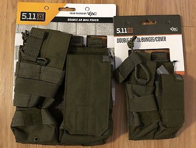 5.11 Tactical 2 Pouch Molle Pouch Lot TDU Green Mag Pouches FREE SHIP LAST SET !