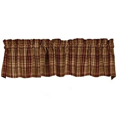 New Primitive Country Rustic Red Burgundy Tan HARRINGTON PLAID VALANCE Curtains
