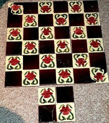 ANTIQUE ART NOUVEAU GLAZED WALL TILE - QUARTERED RED DAFFODILS - used