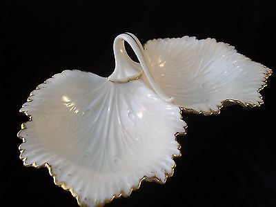 Vtg Lenox Monticello Divided Condiment Tray Candy Dish Gold Trim Ret USA Leaf