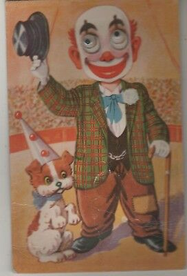 Novelty Clown postcard. Has Squeaker & google eyes. Used 1960. Stamp removed