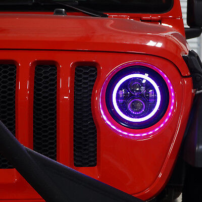 2 LED Headlamp RGB Color Halo Projector Angel Eye for Jeep JL 2018 2019