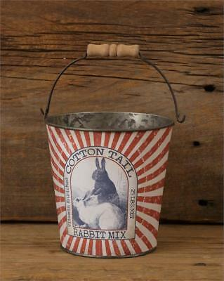 New Primitive Rustic Vintage Style Red COTTON TAIL RABBIT FEED Bunny Bucket Pail