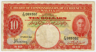 Malaya 1941 Issue King George Vi $10 Dollars Scarce Banknote F/vf.pick#13.