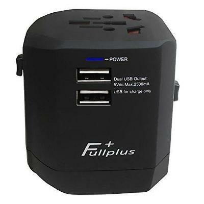 Fullplus Travel Adapter Universal Travel Plug w/Dual 2.5A USB Ports. US EU UK AU