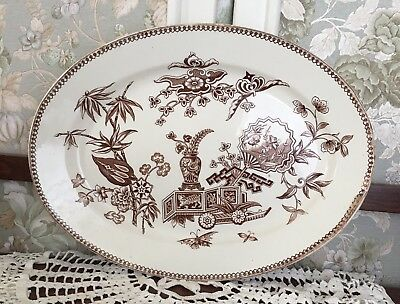 "Antique BROWN TRANSFERWARE Ironstone 15"" PLATTER T ELSMORE & SON Staffordshire"