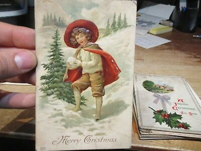 Vintage Old Antique Victorian Era Merry Christmas Postcard Child with Snowball