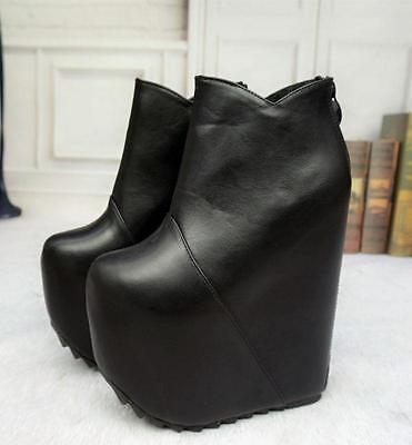 women super High Wedge Heel platform Nightclub Shoes Ankle Boots black/white New