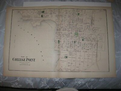 Vintage Antique 1873 College Point Flushing Queens New York Handcolored Map Rare