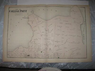 Vintage Antique 1873 College Point Flushing Queens New York Handcolored Map Fine