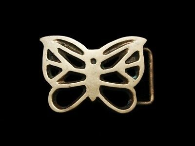 LG07130 VINTAGE 1970s CUT-OUT ***BUTTERFLY*** SOLID BRASS FASHION BELT BUCKLE