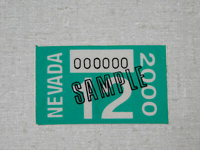 2000 Nevada passenger car sample license plate sticker