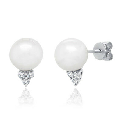 0.14CT 14K White Gold Natural Fresh Water Pearl 3 Stone Diamond Stud Earrings