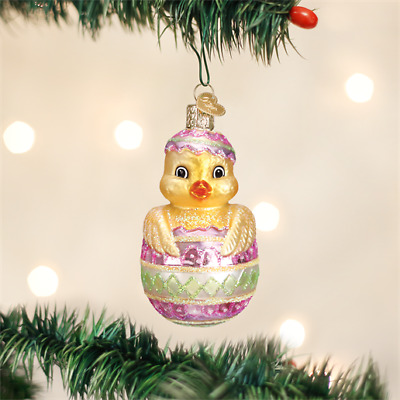 Easter Chick in Egg Blown Glass Old World Christmas Tree Ornament Animal 16103