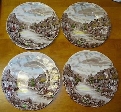Johnson Bros. England Olde English Countryside Set of 4 Dinner Plates 10 1/8""