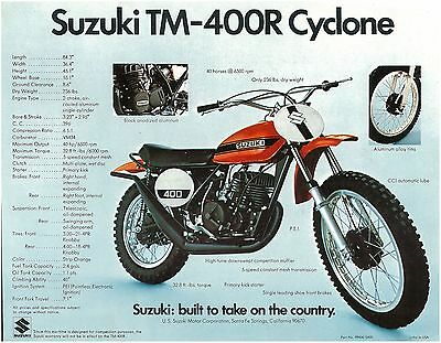 SUZUKI Brochure TM400 TM400R TS250 TS250R 1971 Sales Catalog Catalogue REPRO