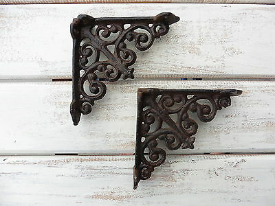 Set 2 = Small Iron Metal Tuscan SCROLL = Old World Corner Wall Shelf Brackets