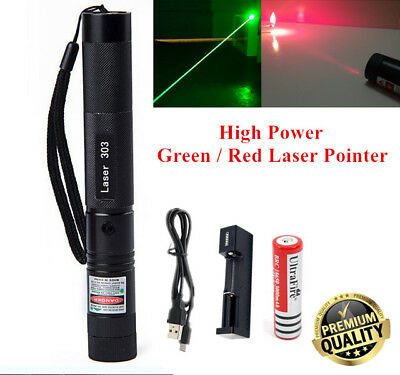 High Power Military Green / Red Laser Pointer Pen - 18650 Battery & USB Charger