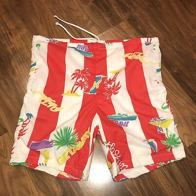 Vtg 70s 80s Mens SMALL Red STRIPED Lined jams SURF Swim suit trunks board shorts