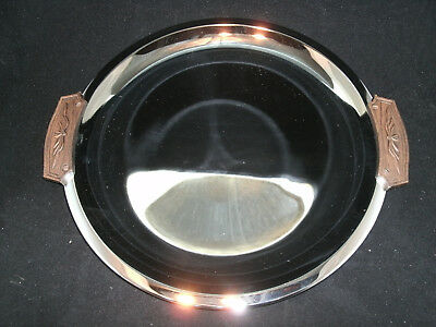 Kromex Sculptura Round Serving Tray w/ Walnut Handles 1970's USA #1470-25 NIB