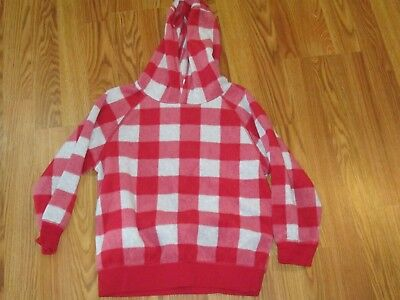 Girls Gymboree Red/Gray Checked Soft Fleece Hooded Pullover Jacket Sz S (5/6)