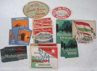 Lot of 61 Original Litho Luggage Labels France Italy Venice Naples Hotels Color