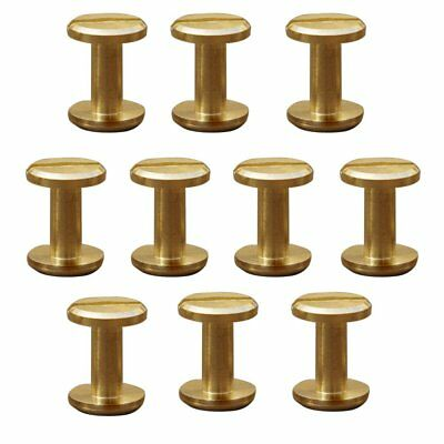 10x Arc Solid Brass Button Stud Screw Nail Screw back Leather Rivet Belt 6mm