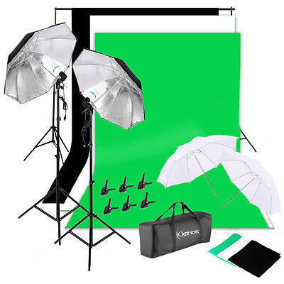 Kshioe Photography Umbrella Lighting Kit Studio Light Bulb 3 Color Backdrop Set