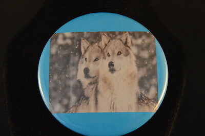"""Pair of  WOLVES  Lot of  3 BUTTONS  pins pinbacks 2 1/4""""  badges Large NEW! WOLF"""