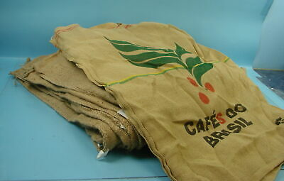 Lot of 10 Vintage Coffee Bean Burlap Gunny Sacks Peru Brazil Africa Guatemala