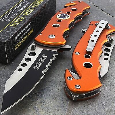 Tac Force Emt Ems Rescue Spring Assisted Tactical Orange Folding Pocket Knife