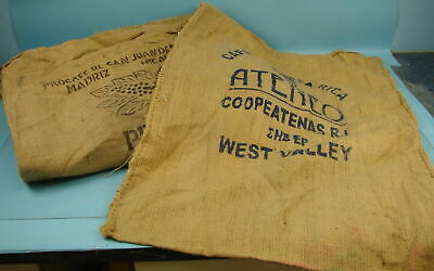 Lot of 9 Various Vintage Burlap Coffee Bean Bags Gunny Sacks Brasil Costa Rica