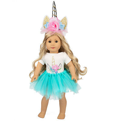 Doll Clothes Tulle Dress Outfits Headband for American 18 INCH Dolls Girl Gifts