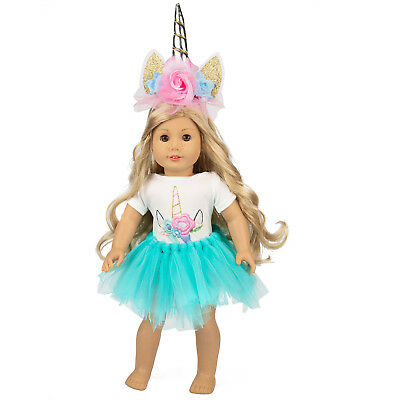 Doll Clothes Unicorn Dress Outfits Headband for America 18 INCH Dolls Girl Gifts