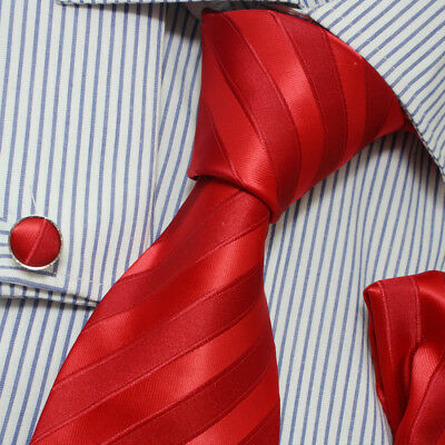 PH1050 Italian Style Red Stripe Silk Tie Hanky Cuffs Set with Gift Box By Epoint
