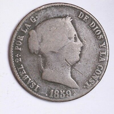 1859 Spain 25 Cent De Real Coin Nice Grade Free Shipping A8