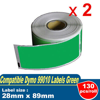 2x Dymo SD99010 Compatible Green Label 28mm x 89mm, 130 labels per roll