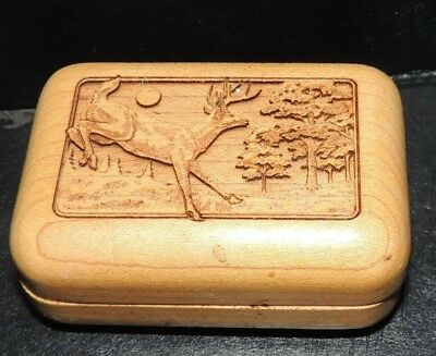 "Wooden Box with Buck Deer Engraving  ""Free Shipping"" 3"" X 2"""