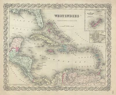 1856 Colton Map of the West Indies