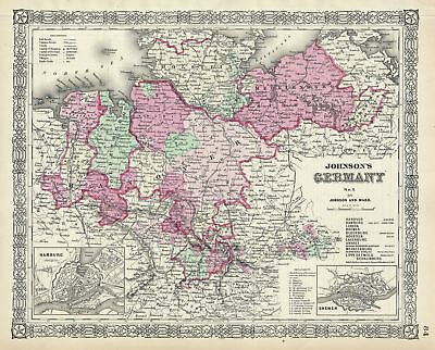 1864 Johnson Map of Northern Germany (Holstein and Hanover)