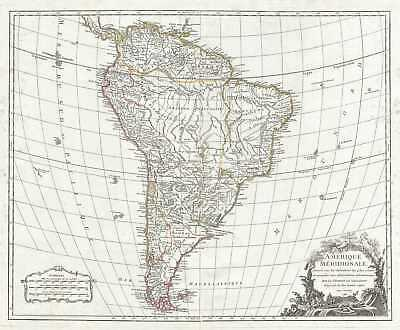 1783 Vaugondy Map of South America