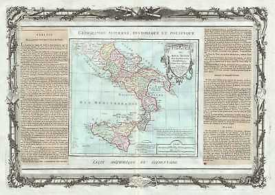 1786 Desnos and de la Tour Map of Southern Italy (Naples and Sicily)